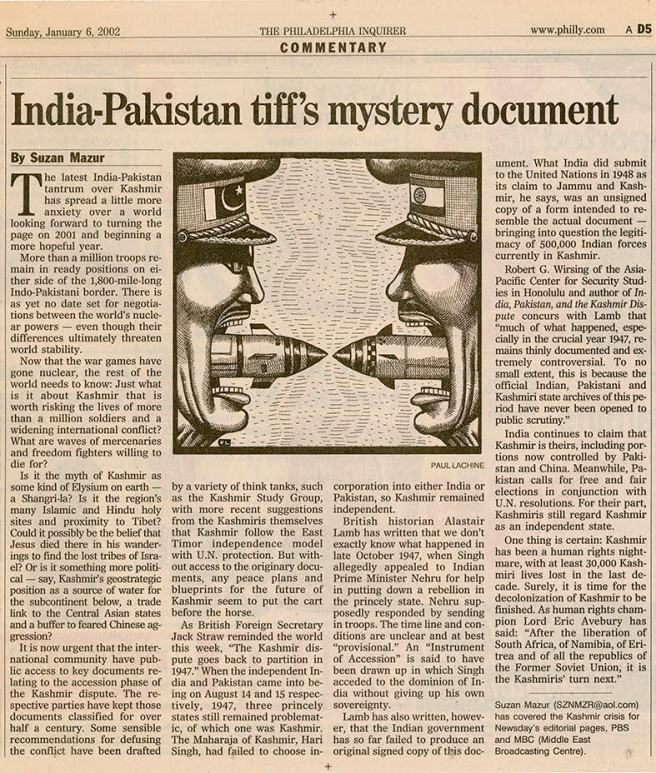 India-Pakistan Tiff Doc - Philadelphia Inquirer - 2002