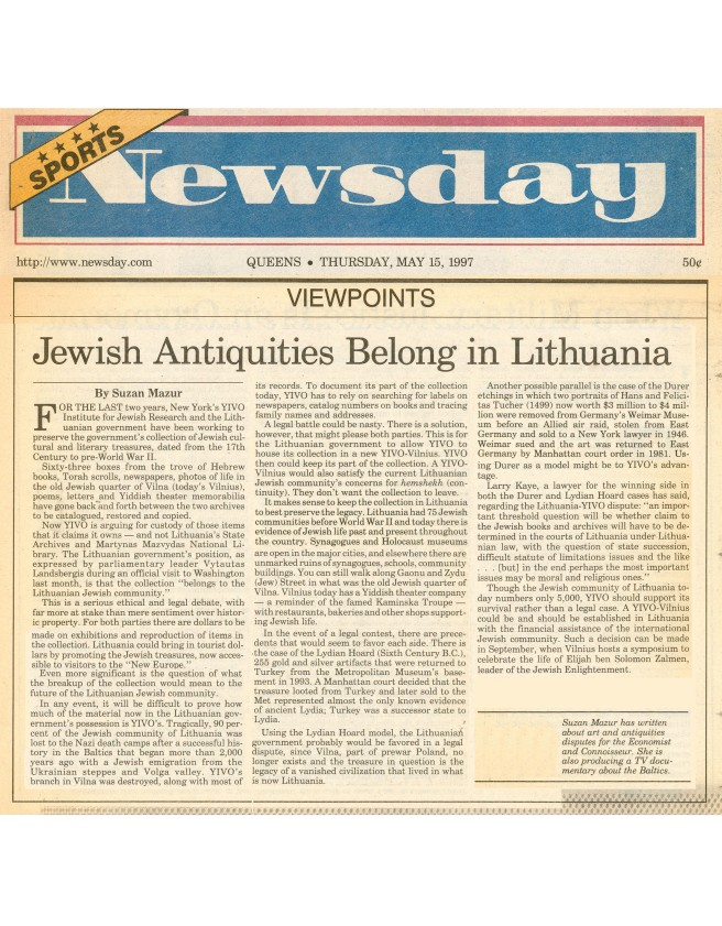 Jewish Antiquities Belong in Lithuania, Newsday 1997-preview