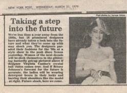 New York Post, 1979 -- Suzan Mazur on Xenon fashion runway modeling Betsey Johnson