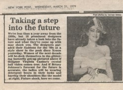 New York Post, 1979 -- Suzan Mazur on Xenon fashion runway modeling Betsey Johnson