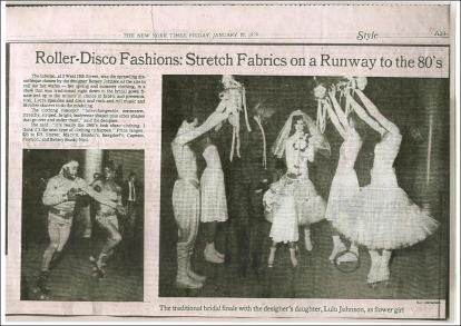New York Times, 1979, Suzan Mazur, circled skate in Betsey Johnson Roller- Disco Wedding, photo by Bill Cunningham