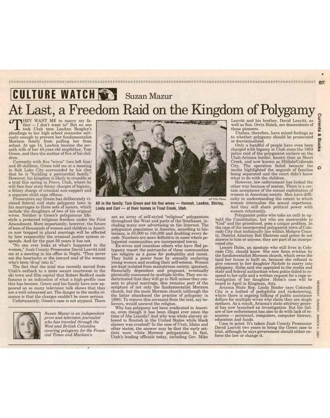 Newsday, March 2001 - At Last a Raid on the Kingdom of Polygamy-preview