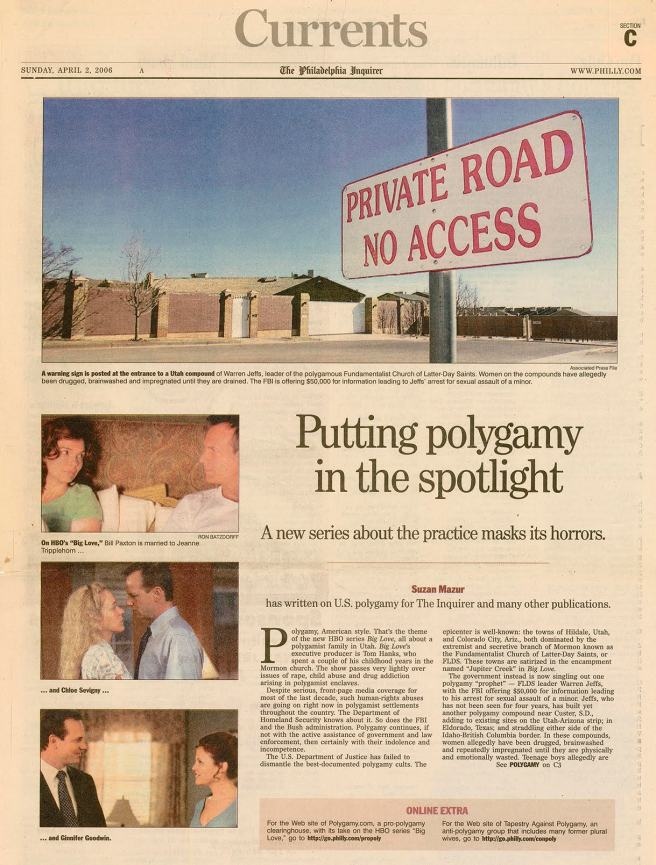 Philadelphia Inquirer (2006) - Polygamy - Page 1