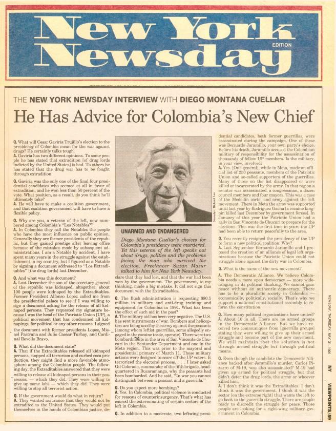 Suzan Mazur - Diego Montana Interview, Newsday,1990.jpg