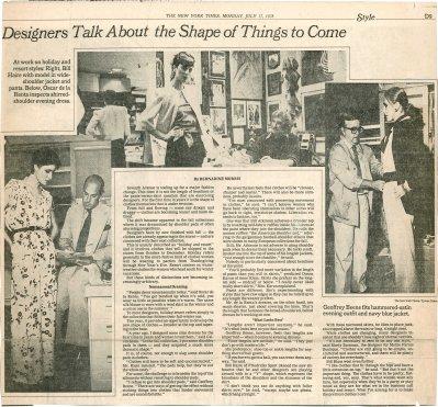 Suzan Mazur, far right with Geoffrey Beene, New York Times, 1978-2
