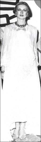 Suzan Mazur, Royal Tehran Hilton fashion gala, Iran 1976. Dress, Koos Van Den Akker. Jewels, David Webb