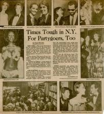 Suzan Mazur with Giorgio' Sant Angelo (top left), Rizzoli Party, 1975 Washington Star