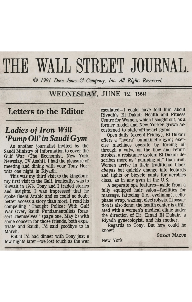 WSJ, June 12,1991, Gulf War, Suzan Mazur - Letter to Editor-preview