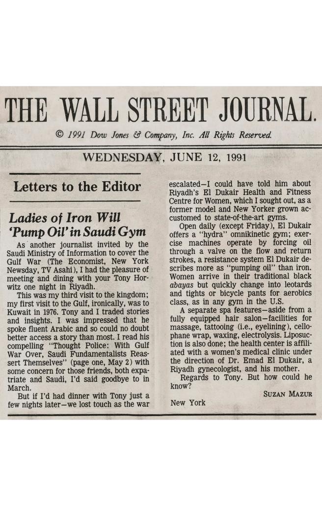WSJ, June 12,1991, Gulf War, Suzan Mazur - Letter to Editor-preview