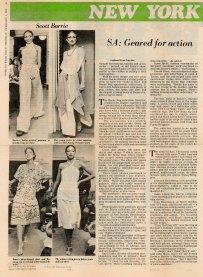 WWD, 1976 - Scott Barrie fashion show - models Alva Chin, Suzan Mazur (top right), Pat Cleveland, Peggy Dillard-2